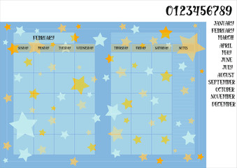 Monthly planner book size on a blue background with stars names of months with numerals