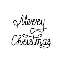 Inscription of merry christmas black on white background