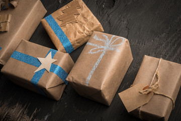 Composition of handmade gift boxes for new year or christmas