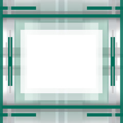 Geometric background. Symmetric abstract pattern with gray and green strips. Template with light rectangular field for text or picture in the centre