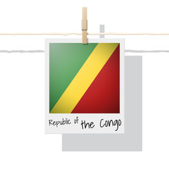 African country flag collection with photo of Republic of the Congo flag , vector , illustration