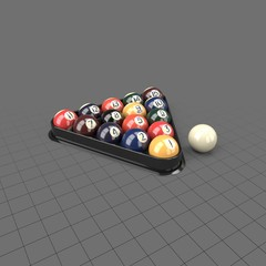 Billiard balls in triangle holder