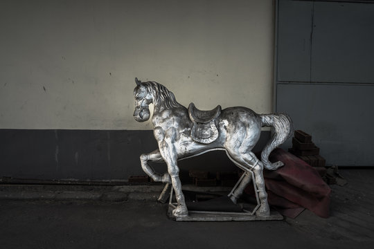 white horse Statue on warehouse