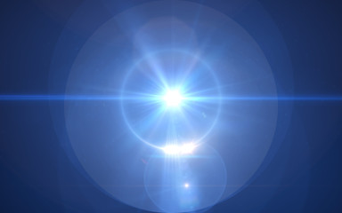 abstract blue thick lens flare light over black background
