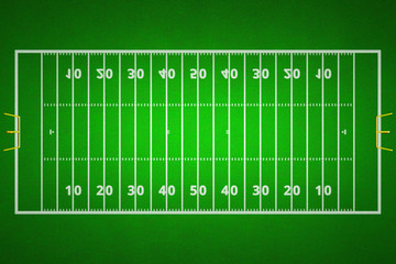 Top views of american football field. Green grass pattern for sport background. Ragby football field with white lines marking the pitch.