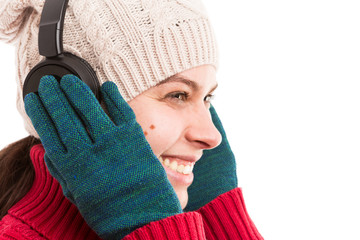 Woman listening headphones music smiling