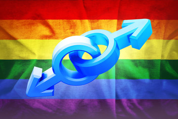 Gender symbols with rainbow pride flag of LGBT organization. Lesbian, gay, bisexual, and transgender flag. Male and female symbols. 3d illustration.