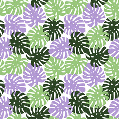 monstera purple, light green and dark green leaves tropical summer paradise pattern on a white background seamless vector