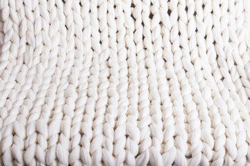 white plaid big knit. texture pigtail knitted blanket