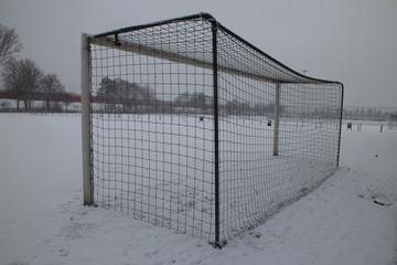 Snow layer on soccer field n Nieuwerkerk aan den IJssel