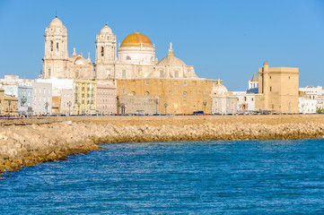 Seaside in Cadiz with the Cathedral,  Spain