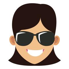 Woman with sunglasses cartoon
