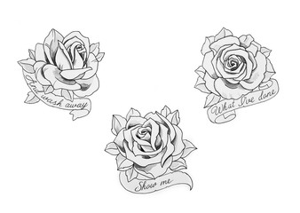 A sketch of a beautiful rose with inscriptions on a white background.