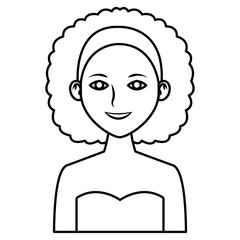 Young woman profile cartoon