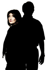 Silhouette Portrait of a Married Couple, Woman Highlighted