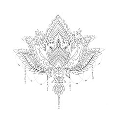 A sketch of a beautiful lotus with ornament on a white background.
