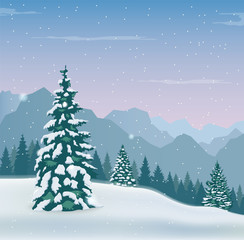 Winter landscape with snow trees and mountains. Winter holidays. Vector