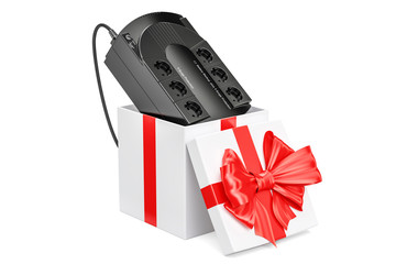 Uninterruptible power supply, UPS inside gift box, gift concept. 3D rendering