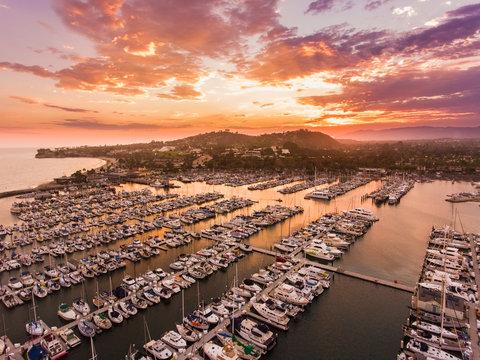 aerial view of Santa Barbara harbor at sunset, Santa Barbara, California