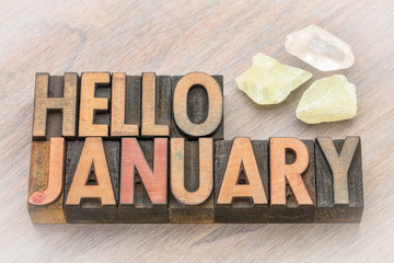 Hello January in vintage wood type