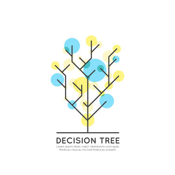 Vector Icon Style Illustration Concept of Machine Learning, Artificial Intelligence, Decision Tree Algorithm Flowchart, Technology of Future, Isolated Symbols for Web and Mobile