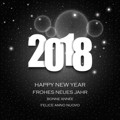 New Year wishes with numbers and dark abstract background