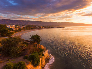 aerial view of Leadbetter Point at sunrise, Santa Barbara, California