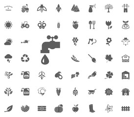 Watering tap icon. Gardening and tools vector icons set