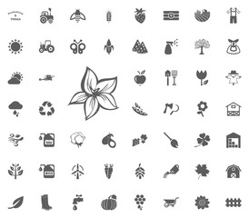 Magnolia icon. Gardening and tools vector icons set
