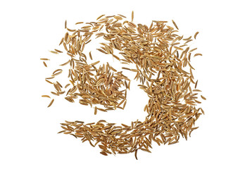 Cumin seeds isolated over white background, top view
