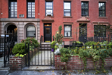 a colorful brownstone building