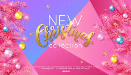Christmas calligraphy on colorful background decorate balls fir branch and gold star for shopping sale or online banner. Vector illustration