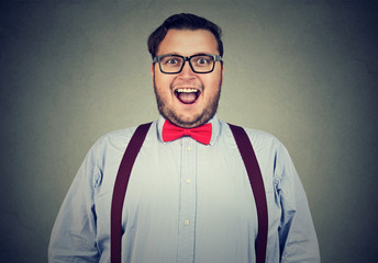 Excited man in bow-tie