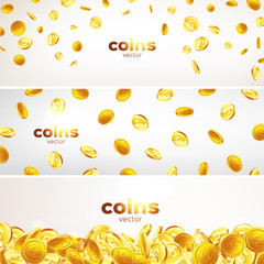 Set banners. Falling gold coins in different positions illustration, color background.