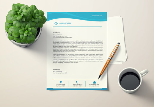 Letterhead Layout with Blue Header and Footer 1
