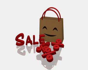 Einkaufstüte mit lachendem Gesicht. Vor der Tasche steht Sale und liegen Prozentzeichen.