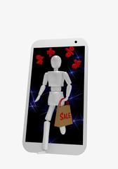 Eine Marionette kommt, zusammen mit Prozentzeichen, aus dem Display eines Handys. In ihrer Hand hält sie eine Einkaufstüte auf der Sale steht.