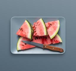 Sliced watermelon on a dish