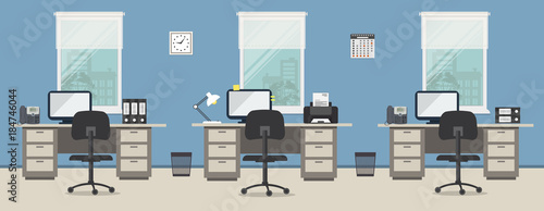 Office room in a blue color. Workplace of office workers with gray ...