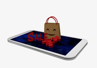 Einkaufstüte mit lachendem Gesicht steht auf dem Display eines Handys. Vor der Tasche steht Sale und liegen Prozentzeichen.