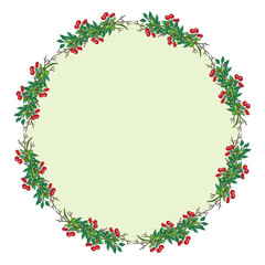 Wreath with branches and red berries. Round frame