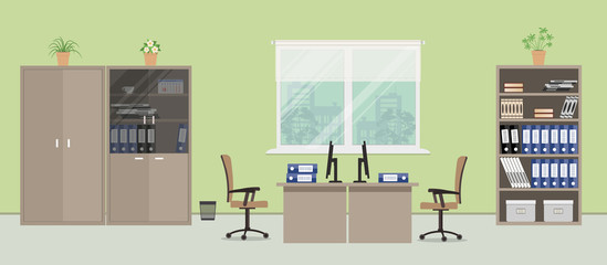 Office room in a green color. There are desks, beige chairs, cabinets for documents and other objects on a window background in the picture. Vector flat illustration