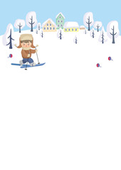 Colorful background with the image of child on winter walk. Vector illustration.
