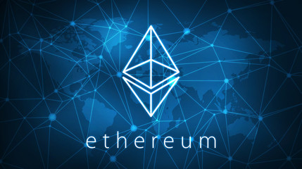 Ethereum symbol on futuristic hud background with world map and blockchain peer to peer network. Global cryptocurrency business banner concept.