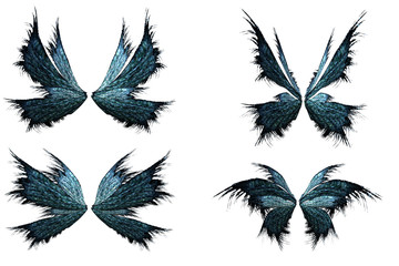 Set of enchanted fairy wings isolated on white. 3d render