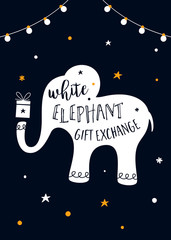 White Elephant Gift Exchange Game Vector Illustration