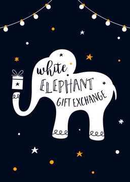 White Elephant Gift Exchange Game Vector Illustration