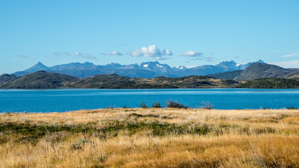 Poster Bleu Torres del Paine National Park in Autumn, Patagonia, Chile