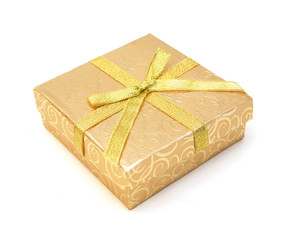 empty yellow gift box with lid on white background