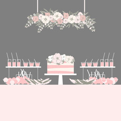 Wedding dessert bar with cake. Sweet table. Candy Buffet.  Vector illustration.